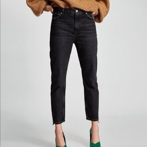 Zara Vintage High Rise Velvet Side Stripe Jeans